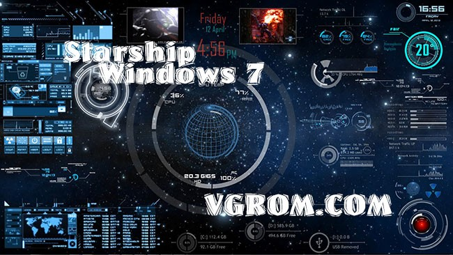 3D тема для Windows 7 - Starship Windows 7