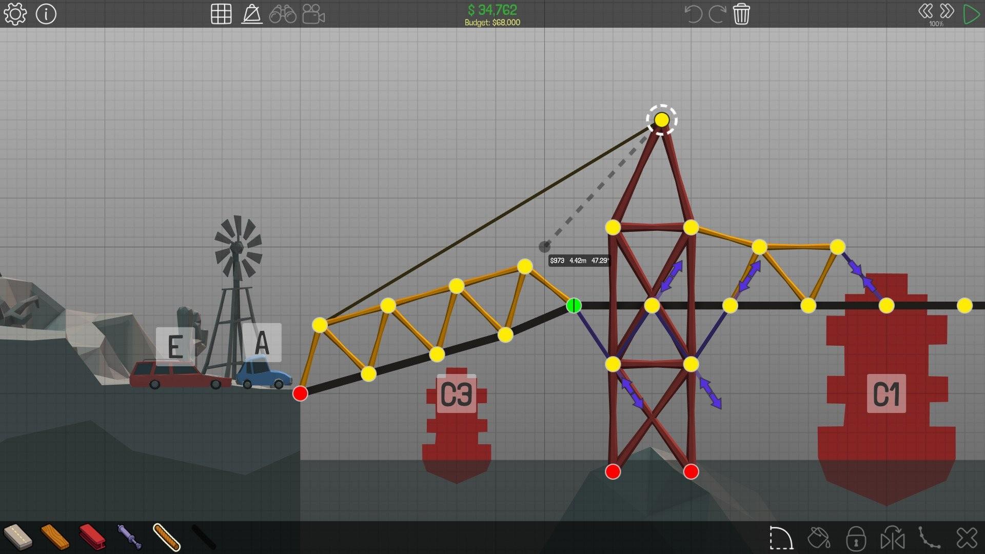 Прохождение Bridge Constructor Portal: решение головоломок | 1080x1920